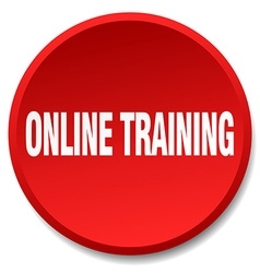 Online training red round flat isolated push vector