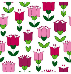 red and pink color abstract tulip flower motif vector image vector image