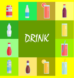 refreshing drinks and sweet soda set vector image