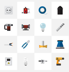 Set of 16 editable electric icons includes vector