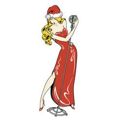 Sexy singer in comics style santa girl in vector
