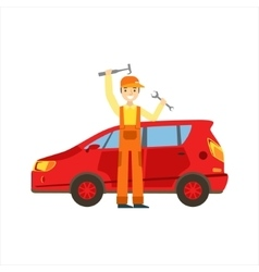 Smiling Mechanic With Wrench And Hammer In The vector image