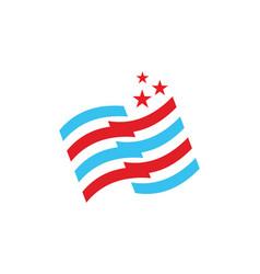 Stripe flag star logo vector