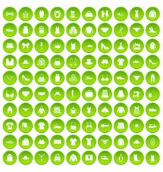 100 sewing icons set green circle vector