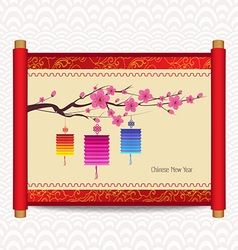 Chinese new year with blossom and lantern vector