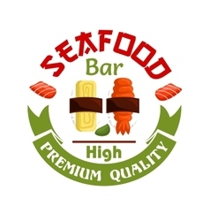 Seafood bar icon sushi and wasabi vector