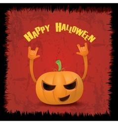 pumpkin rock n roll style halloween greeting card vector image