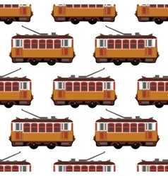 Lovely retro detailed tram car side view vector