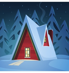 Red house in snow vector