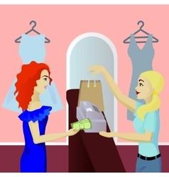 Buyer in shop pays cash vector