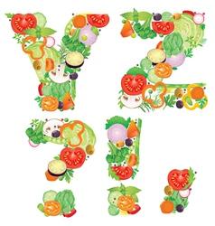 Alphabet of vegetables YZ vector image