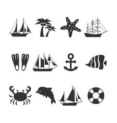 Summer sea vacation icons set vector