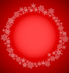 Red christmas frame with snowflakes circle vector image