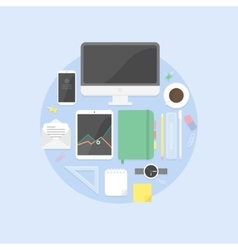 Flat design objects productive office workplace vector