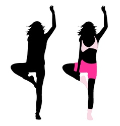 Silhouette girl fitness vector
