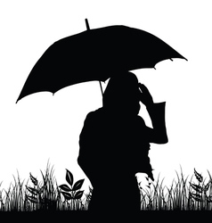 Girl with umbrella silhouette in nature vector