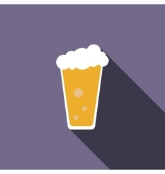 Traditional beer glass icon flat style vector image