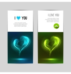 Beautiful greeting cards with glowing hearts vector