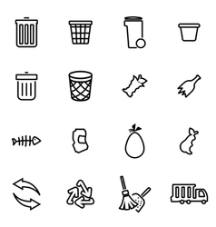 Thin line icons - garbage vector