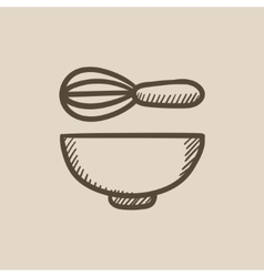 Whisk and bowl sketch icon vector