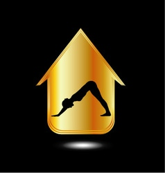 A person performing yoga inside a house vector