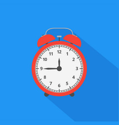 Alarm clock icon with long shadow flat design vector