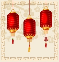 Background in Oriental Style with Chinese Lanterns vector image