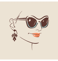 beautiful woman wearing sunglasses vector image