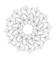 black and white round autumn mandala with leaves vector image