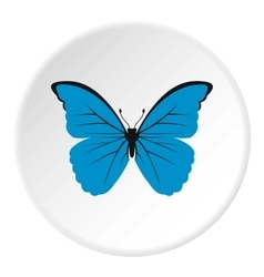 Blue butterfly icon flat style vector