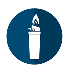 blue gas lighter flame icon shadow vector image vector image