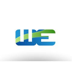 Blue green we w e alphabet letter logo vector