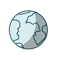 Blue shading silhouette of earth globe icon vector