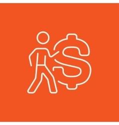 Businessman with a big dollar symbol line icon vector image vector image