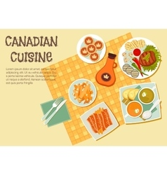Canadian cuisine dishes for picnic or bbq icon vector