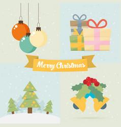 Christmas vintage greeting card vector