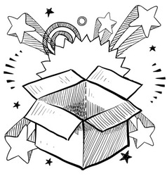 doodle pop box surprise vector image
