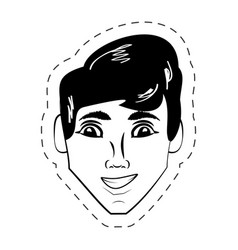 face man expression facial black and white vector image