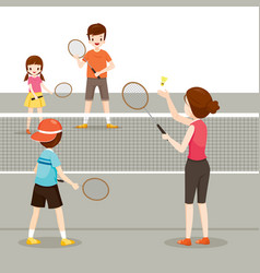 family playing badminton for good health vector image