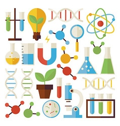 Flat science and research objects set isolated vector