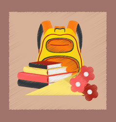 Flat shading style icon book bag flowers vector