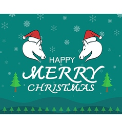 Horse merry christmas vector image vector image