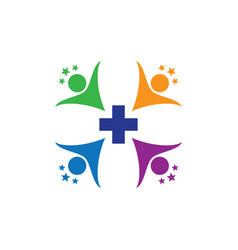Human health cross with star logo image vector