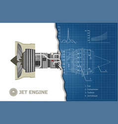 jet engine in outline style industrial blueprint vector image vector image