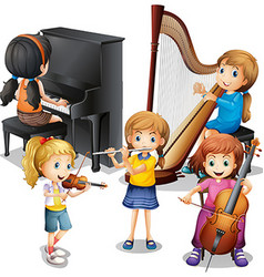 Many children playing classical music vector