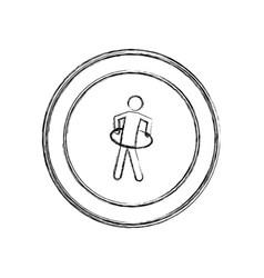 Monochrome sketch of training in hula hoop in vector