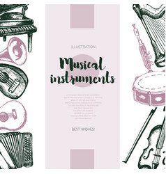 Musical instruments - hand drawn vintage banner vector