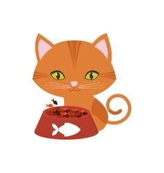 orange cat green eyes plate food fish print vector image vector image