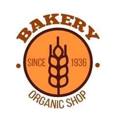 Organic bakery shop orange symbol with wheat vector image vector image