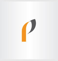 p letter black orange logotype symbol vector image